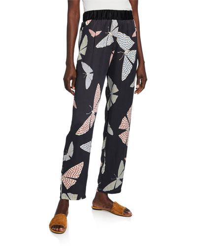 Papillons Gitans Silk-Satin Cloque Trousers