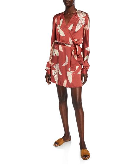 Forte Forte Papillons Gitans Long-Sleeve Cloque Wrap Dress