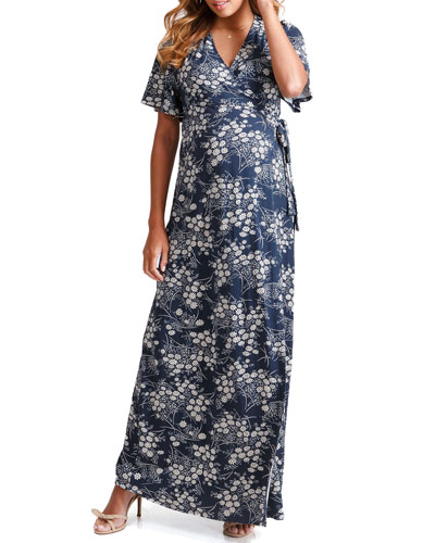 Maternity Floral-Print Flutter-Sleeve Maxi Wrap Dress
