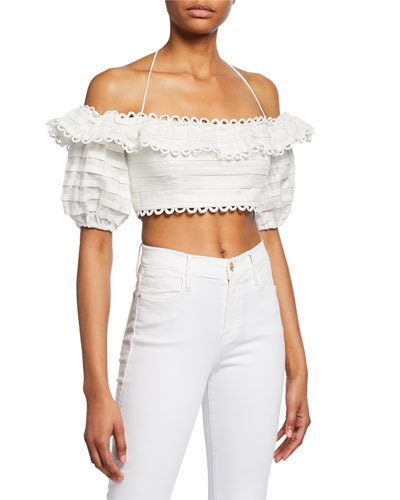 Allia Pintuck Off-Shoulder Top
