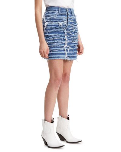 High-Rise Fringe Denim Skirt