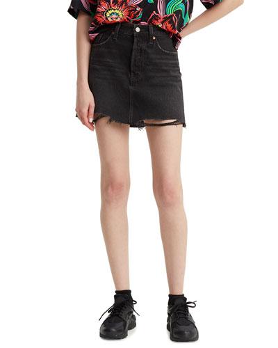 Deconstructed Denim Mini Skirt