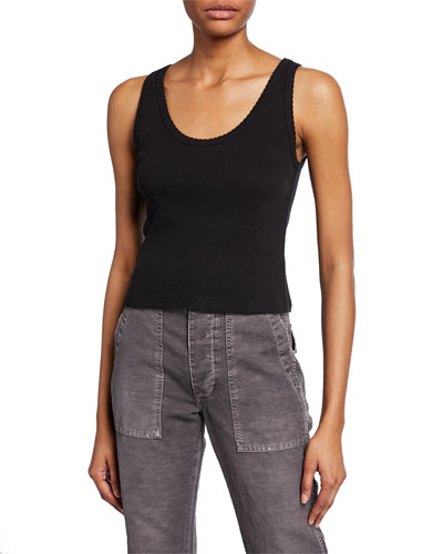 Scalloped Cropped Ribbed Tank