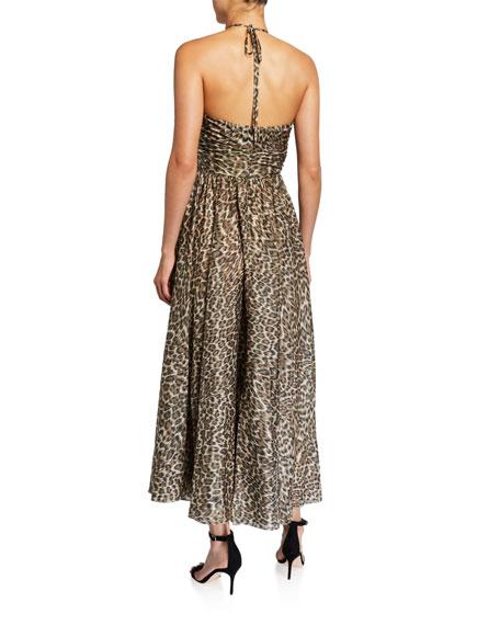 Zimmermann Suraya Ruched Leopard-Print Silk Halter Dress