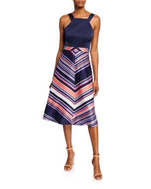334270aefe05f Trina Turk Arvida Chevron Stripe Halter Dress