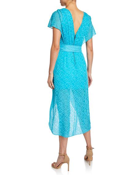 Alice + Olivia Darva Gathered Mock-Wrap High-Low Dress