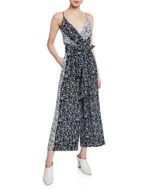 995be9b4096c Tanya Taylor Priscilla Silk Floral Tie-Waist Wide-Leg Jumpsuit
