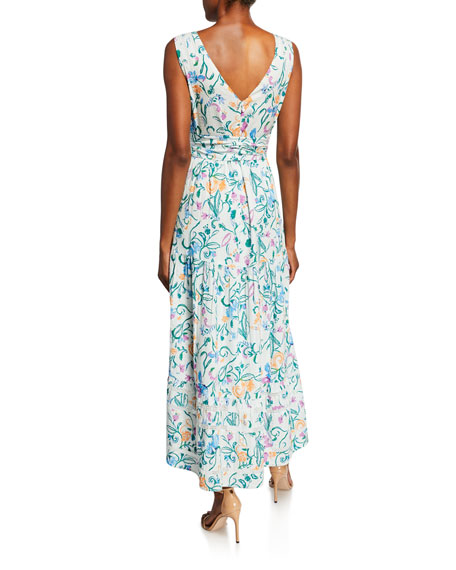 Tanya Taylor Neves Printed Tie-Front High-Low Dress