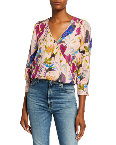 Gylda Leaf-Print Surplice 3/4-Sleeve Silk Blouse