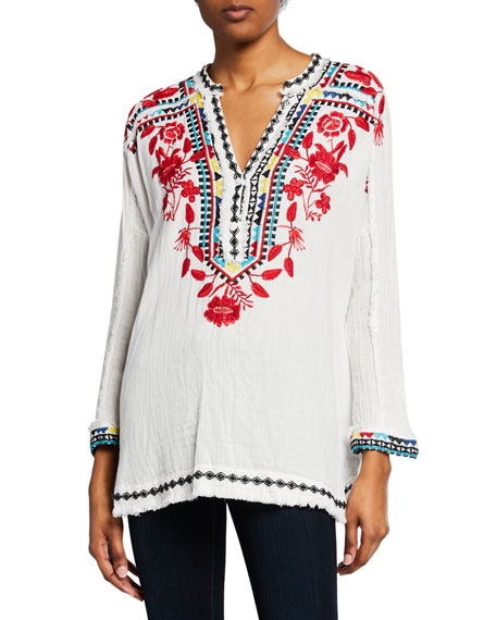 Johnny Was Tops BELVEDERE LONG-SLEEVE EMBROIDERED GAUZE BLOUSE