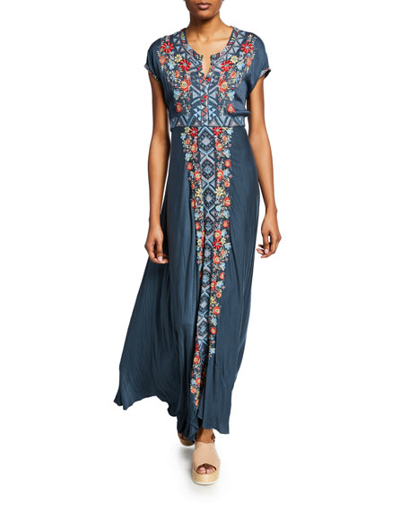 Johnny Was Dresses CASSIE EMBROIDERED SHORT-SLEEVE MAXI DRESS