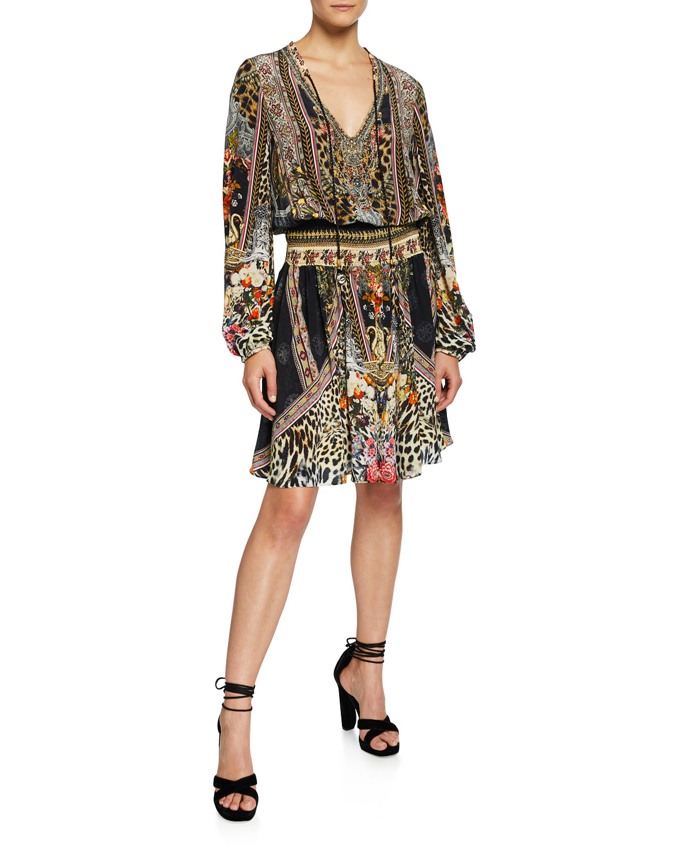f2db32ce3f Camilla Shirred Long-Sleeve Printed Short Dress | Neiman Marcus