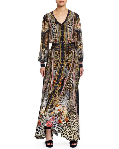 Camilla Printed Lace-Up Blouson-Sleeve Maxi Dress