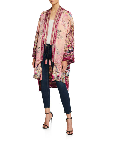 Camilla Printed High-Low Silk Kimono with Tassel Ties