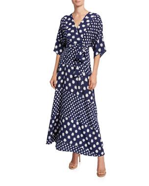03946eb37e5 Diane von Furstenberg Eloise Floral-Print Asymmetrical Wrap Dress