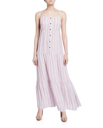 Promenade Striped Button-Front Tiered Maxi Dress