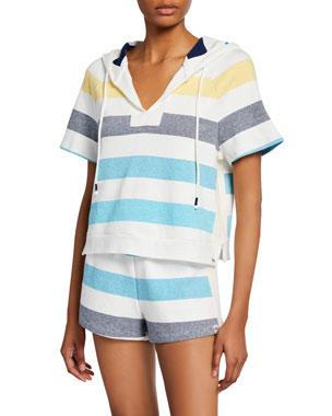 3992e2598 Splendid Shoreline Striped Short-Sleeve Pullover Hoodie