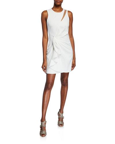 Adair Sleeveless Twist-Front Mini Dress