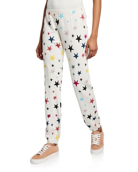 Monrow STARS-PRINTED ELASTIC-WAIST SWEATPANTS