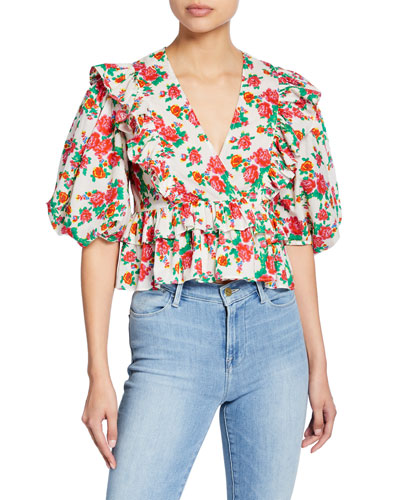 Elodie Floral-Print Ruffle Crop Top