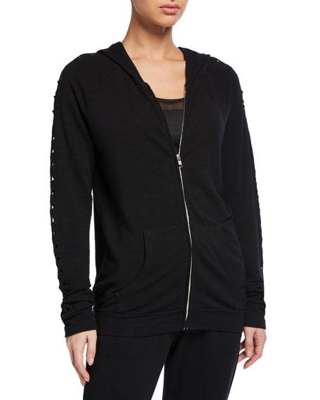 Monrow Raglan-Sleeve Zip-Front Hoodie Jacket w/ Triangle Cutouts