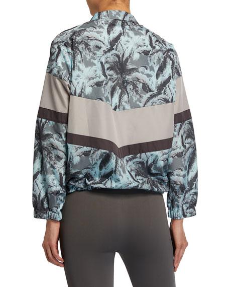 Monrow Palm-Print Colorblock Zip-Front Wind  Jacket