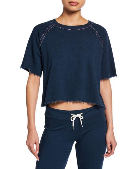 Monrow Contrast Stitch Short-Sleeve Cutoff Sweatshirt with Beads