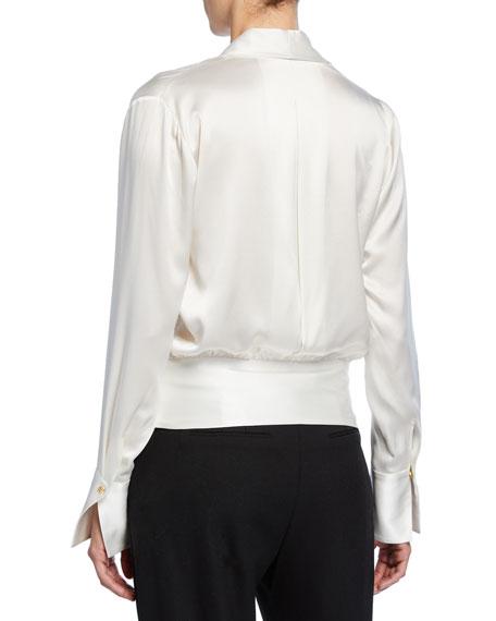 Elie Tahari Logan V-Neck Long-Sleeve Silk Blouse