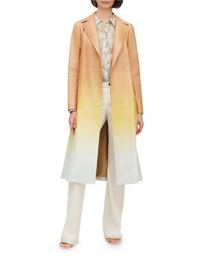 06c2df620e6 Lafayette 148 New York Avrielle Ombre Lambskin Leather Trench Coat