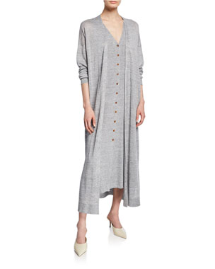 21e0aee88f95 Lafayette 148 New York Button-Front Linen Viscose Relaxed Cardigan