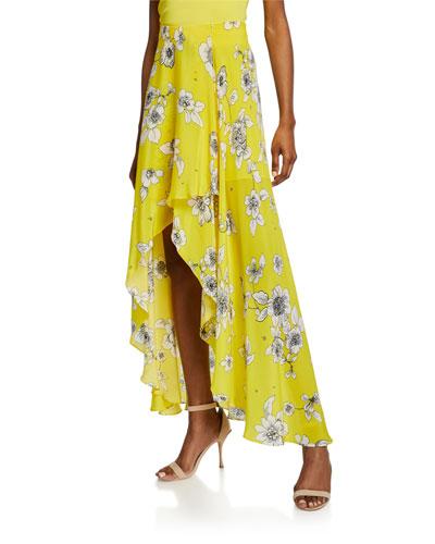 Kirstie Floral-Print Cascade Overlap High-Low Skirt