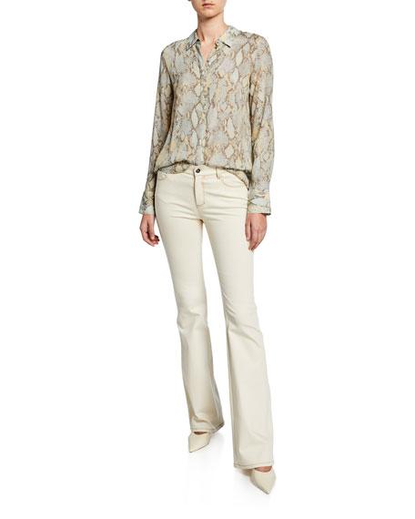 Lafayette 148 New York Mercer Artisan Denim 8 OZ Flare Jeans