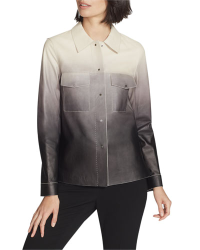 John Ombre Lambskin Leather Button-Front Jacket