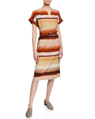 219ffd9d392 Lafayette 148 New York Cosimia Sunrise Watercolor Belted Knee-Length Dress