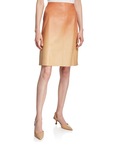 Whitley Ombre Lambskin Leather Skirt