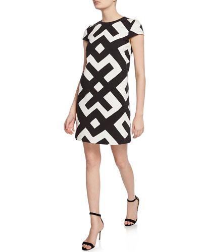Quinn Printed Cap-Sleeve A-Line Dress