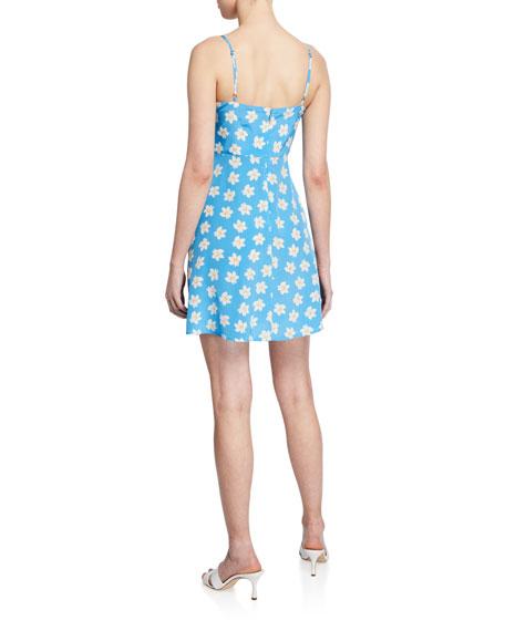 HVN Nora Floral Silk Bias Mini Dress