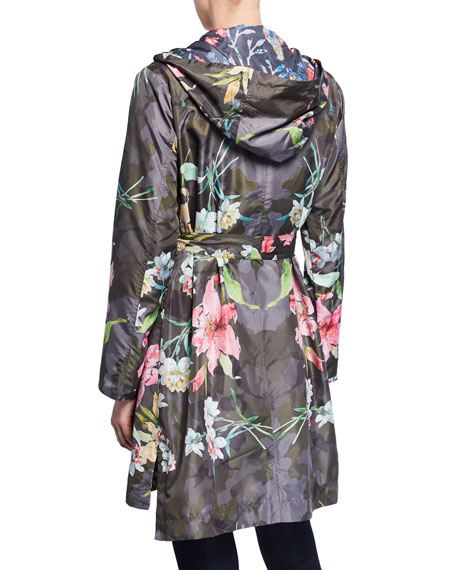 Johnny Was Camio Floral & Camo-Print Water Resistant Hooded Raincoat