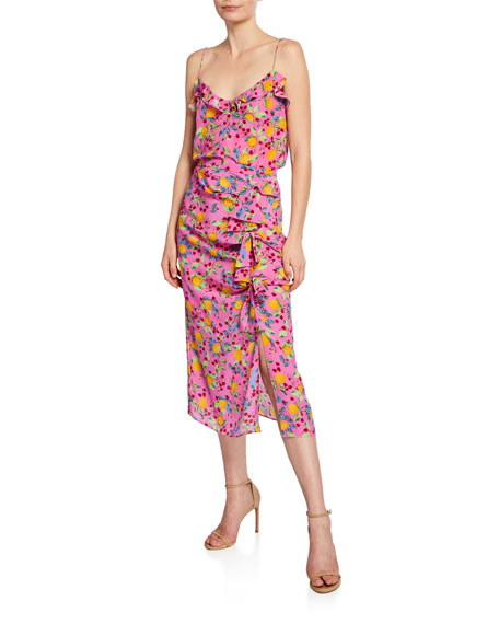 Saloni Kelly Floral Silk Midi Skirt