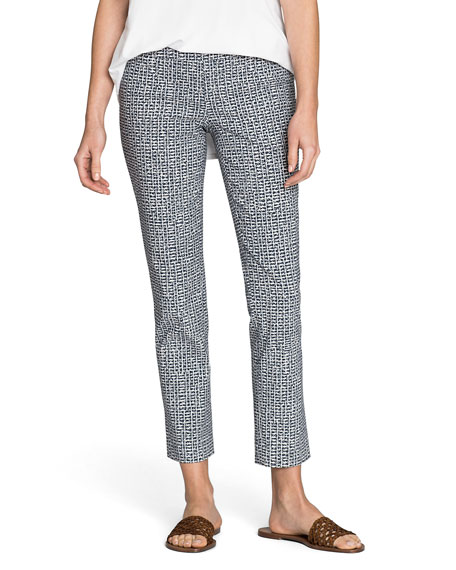 Nic+zoe Pants PLUS SIZE HATCHING PRINTED STRAIGHT-LEG ANKLE PANTS