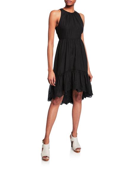 Halston Heritage Dresses HIGH-NECK SLEEVELESS HIGH-LOW GEORGETTE DRESS W/ EMBROIDERED HEM