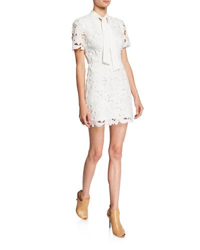 Saracen Tie-Neck Embroidered Lace Mini Dress