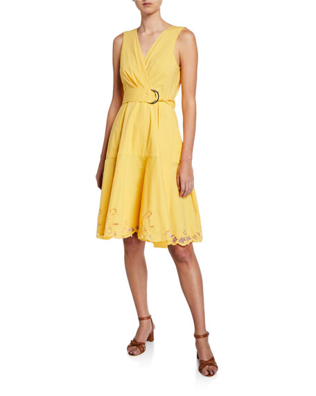 Josie Natori SLEEVELESS BELTED STRETCH-COTTON LACE-HEM DRESS