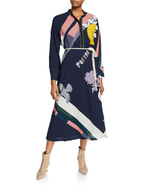 0c53339eb67 Tory Burch Scarf Print Button-Front Long-Sleeve Dress with Tie-Belt