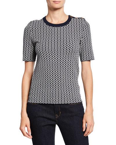 Gemini Link Jacquard Short-Sleeve Sweater