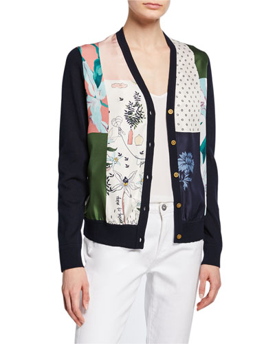 Patchwork Silk Front V-Neck Button-Front Cardigan