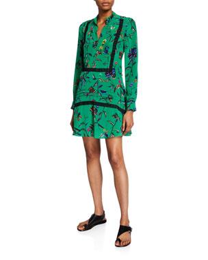 23e04034a1a96 Derek Lam 10 Crosby Long-Sleeve Printed Half-Placket Shirt Dress