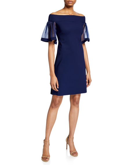 Chiara Boni La Petite Robe Cleta Off-the-Shoulder Organza Flutter-Sleeve Sheath Dress