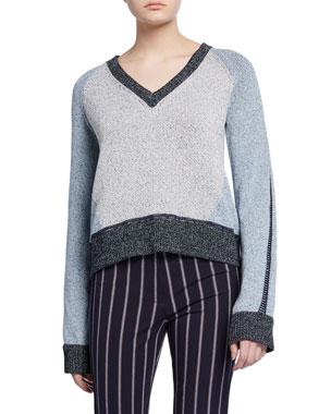 a13d0c6af3cd Derek Lam 10 Crosby Colorblock V-Neck Sweater
