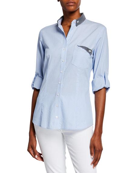 Finley Mr French Striped Button-Down Shirt w/ Preppy Dot Trim